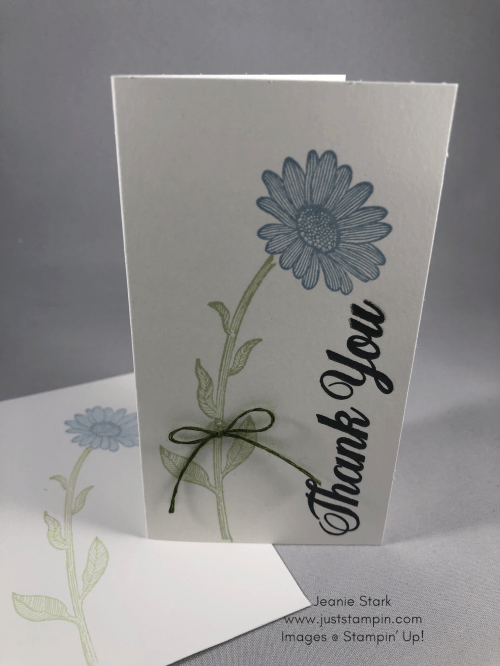 Stampin' Up! Daisy Lane Seaside Spray thank you note card idea - Jeanie Stark StampinU