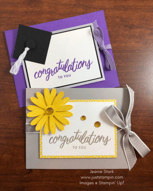 Stampin' Up! Friendly Expressions Congratulations card ideas for graduation, new job, etc. - Jeanie Stark StampinUp