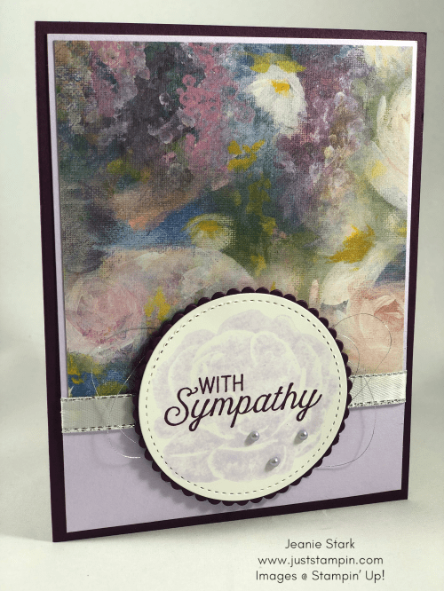 Stampin Up Flourishing Phrases and Healing Hugs Sympathy Card Idea using Perennial Essence Designer Series Paper - Jeanie Stark StampinUp