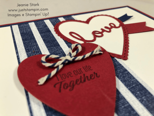 Stampin Up Love or Anniversary card idea with Well Written and Stitched Be Mine Dies and Meant to Be Stamp Set - Jeanie Stark StampinUp