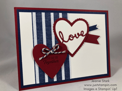 Stampin Up Love or Anniversary card idea with Well Written and Stitched Be Mine Dies - Jeanie Stark StampinUp