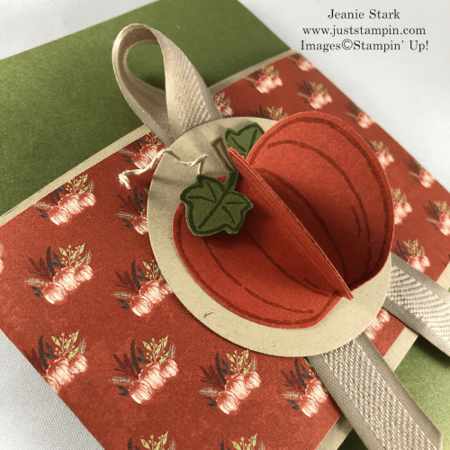 Stampin Up Come To Gather Designer Series Paper, Harvest Hellos Stamp Set and Apple Builder Punch make this 3D pumpkin tag and gift packaging with the Envelope Punch Board - Jeanie Stark StampinUp