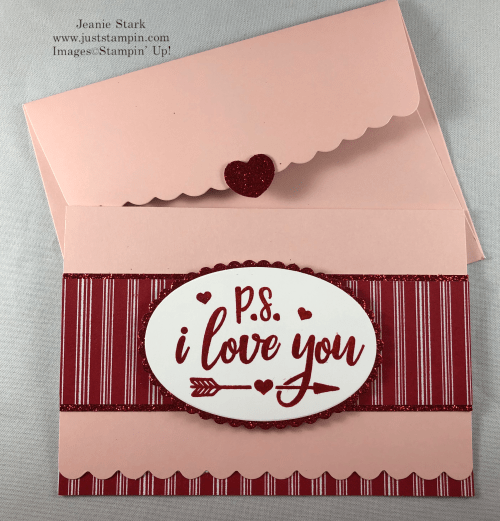 Stampin' Up! Everything Festive Valentine card idea using Scalloped Note Card and Let It Snow Specialty Designer Series Paper - Jeanie Stark StampinUp