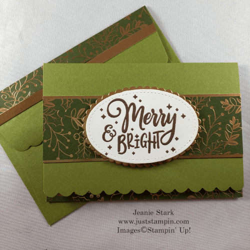 Stampin' Up! Everything Festive Holiday card idea using Scalloped Note Cards & envelopes and Brightly Gleaming Specialty Designer Series Paper - Jeanie Stark StampinUp