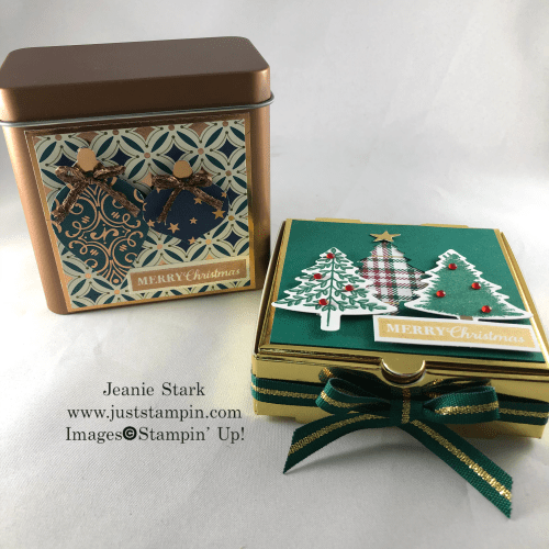 Stampin' Up! Brightly Gleaming Copper Tin and Perfectly Plaid Pizza Box Gift Ideas for Christmas - Jeanie Stark StampinUp