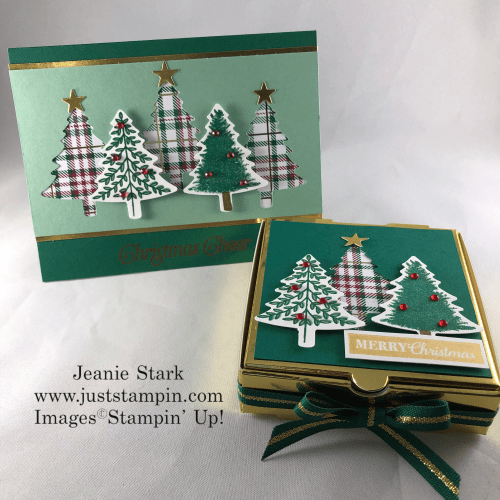 Stampin' Up! Perfectly Plaid Pizza Box and Christmas card gift idea - Jeanie Stark StampinUp
