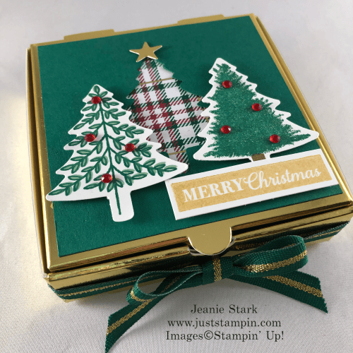 Stampin' Up! Perfectly Plaid Pizza Box Christmas gift idea - Jeanie Stark StampinUp