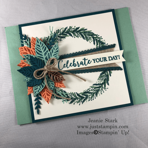 Stampin' Up Gathered Leaves Dies and Tidings All Around Wreath for a fun fold fall birthday card idea - Jeanie Stark StampinUp