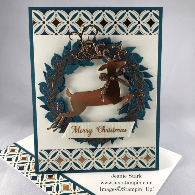 Stampin\' Up! Tidings All Around and Detailed Deer Christmas wreath card idea with Brightly Gleaming Specialty Designer Series Paper - Jeanie Stark StampinUp