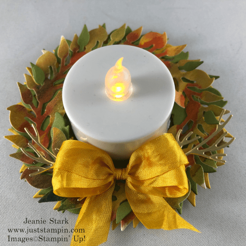 Stampin' Up! All-Around Wreath Dies lighted table favor idea for Thanksgivng - Jeanie Stark StampinUp