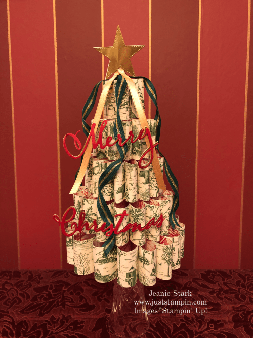 Stampin' Up! Toile Tidings Designer Series Paper 3D Christmas Tree home decor gift idea - Jeanie Stark StampinUp