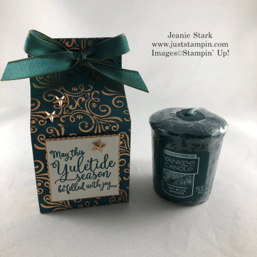 Stampin Up! Brightly Gleaming Specialty Designer Series Paper Box Idea for Yankee Candle votives - Jeanie Stark StampinUp
