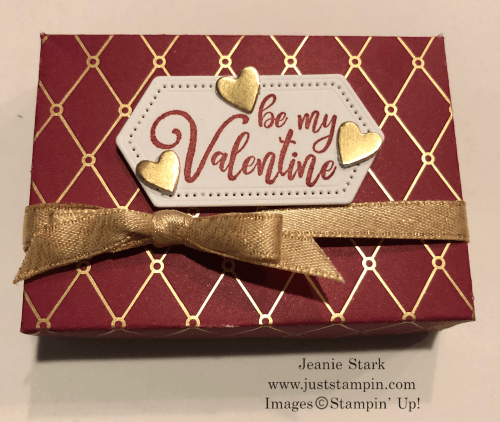Stampin' Up! Hershey Nugget Valentine treat box Idea made with Christmastime is Here Specialty Designer Series Paper, Everything Festive Stamp Set, and Stitched Nested Dies - Jeanie Stark StampinUp