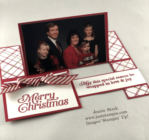 Stampin' Up! Perfectly Plaid Fun Fold Christmas card idea - Jeanie Stark StampinUp