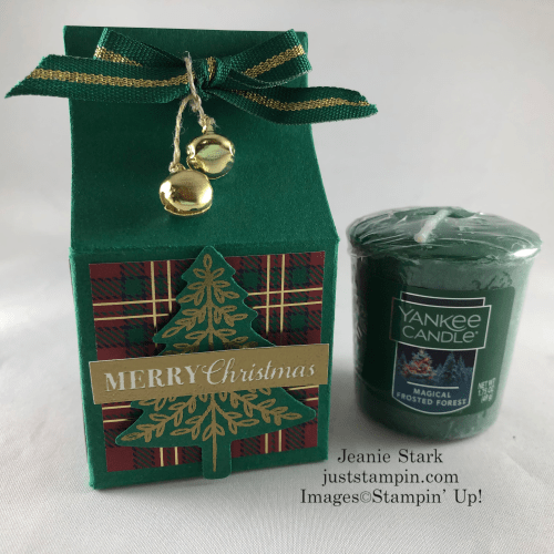 Stampin' Up! Perfectly Plaid Yankee candle box idea - Jeanie Stark StampinUp