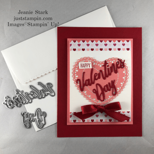 Stampin' Up! From My Heart and Word Wishes fun fold Valentine card idea - Jeanie Stark StampinUp