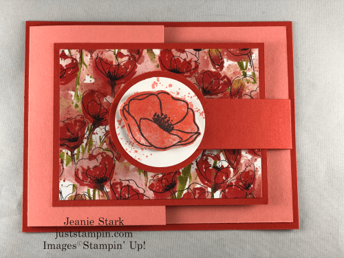 Stampin' Up! Peaceful Poppies fun fold birthday card idea - Jeanie Stark StampinUp