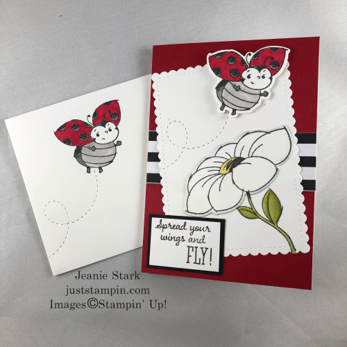 Stampin' Up! Little Ladybug note card featuring the Ladybug dies - Jeanie Stark StampinUp