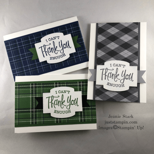 Stampin' Up! So Sentimental masculine thank you note cards featuring the Country Club Designer Series Paper - Jeanie Stark StampinUp