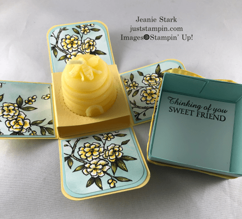 Stampin' Up! Bird Ballad and Honey Bee explosion box tea light gift box idea - Jeanie Stark StampinUp