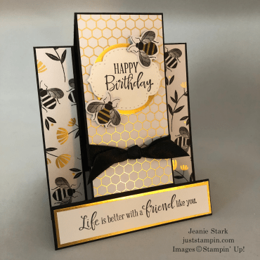 Stampin' Up! Peaceful Moments and Honey Bee Fun Fold Birthday card idea with Golden Honey DSP - Jeanie Stark StampinUp