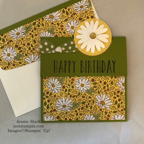 Stampn' Up! Perennial Birthday fun fold birthday card idea using Ornate Garden Designer Series Paper - Jeanie Stark StampinUp