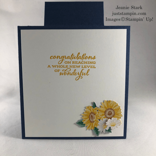 Stampin' Up! Celebrate Sunflowers with Flowers for Every Season fun fold celebration card idea - Jeanie Stark StampinUp