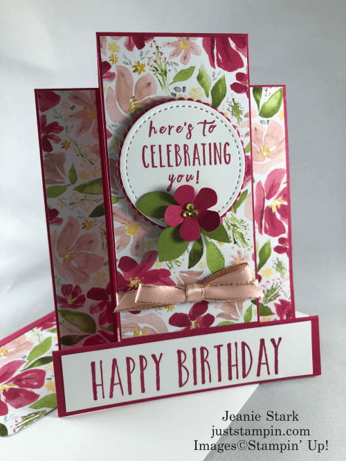 Stampin' Up! Perennial Birthday Best Dressed fun fold birthday card idea - Jeanie Stark StampinUp