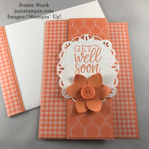 Stampin' Up! Stitched Labels Dies and 2018-2020 In Color Grapefruit Grove get well fun fold card idea - Jeanie Stark StampinUp