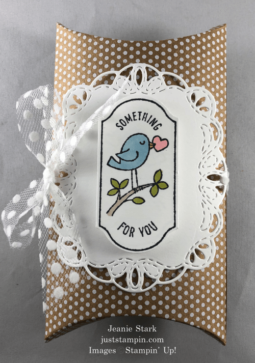 Stampin' Up! Time for Tags and Stitched Labels Dies All Occasion Pillow Box idea- Jeanie Stark StampinUp