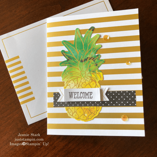 Stampin' Up! June Paper Pumpkin Box of Sunshine and Well Said Stamp Set welcome card idea - Jeanie Stark StampinUp