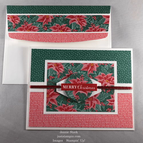 Stampin' Up! Christmas Gleaming and Flowers For Every Season Christmas card idea - Jeanie Stark StampinUp