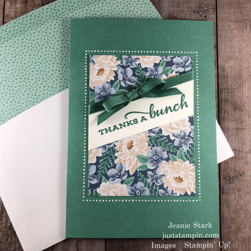 Stampin' Up! Flowers For Every Season Memories & More thank you card idea using Celebrate Sunflowers - Jeanie Stark StampinUp