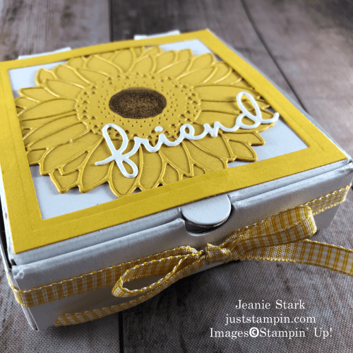 Sampin' Up! Mini Pizza Box gift for a friend with Celebrate Sunflowers Bundle and Well Written Dies - Jeanie Stark StampinUp