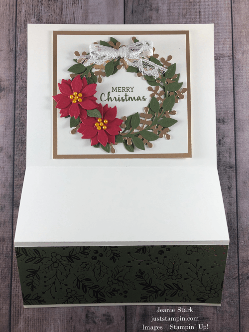 Stampin' Up! Arrange A Wreath fun fold Christmas card idea - Jeanie Stark StampinUp