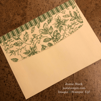 Stampin' Up! Very Vanilla Medium envelope with Toile Tidings Designer Series Paper - Jeanie Stark StampinUp