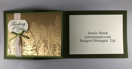 Stampin' Up! Thinking of You Evergreen Forest Embossed Fun Fold Card idea - Jeanie Stark StampinUpn