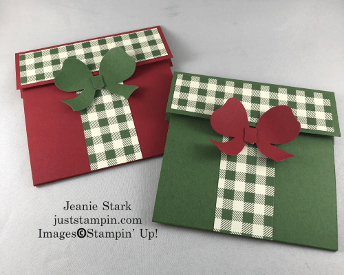 Stampin' Up! Gift Bow Builder Punch gift card idea - Jeanie Stark StampinUp