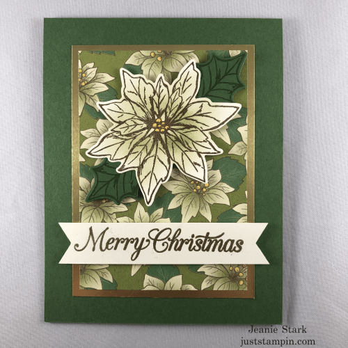 Stampin' Up! Poinsettia Petals Christmas card idea -Jeanie Stark StampinUp