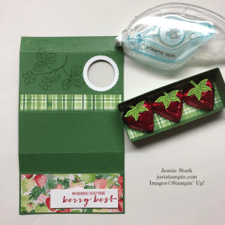 Stampin' Up! Strawberry treat box with slider - visit juststampin.com for complete tutorial, inspiration, and more - Jeanie Stark StampinUp