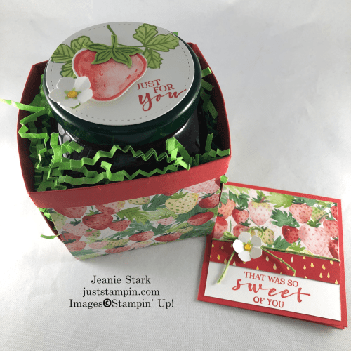 Stampin' Up! Sweet Strawberry and Berry Delightful Designer Series Paper berry basket and card gift set idea - Jeanie Stark StampinUp