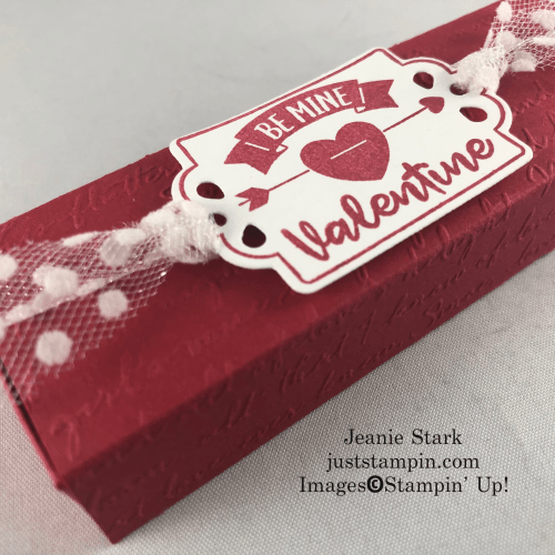Stampin' Up! Tags, Tags, Tags, and Trip of Tags 4 Nugget SLider BGox idea with Script y 3D Embossing Foler - Jeanie Stark StampinUp