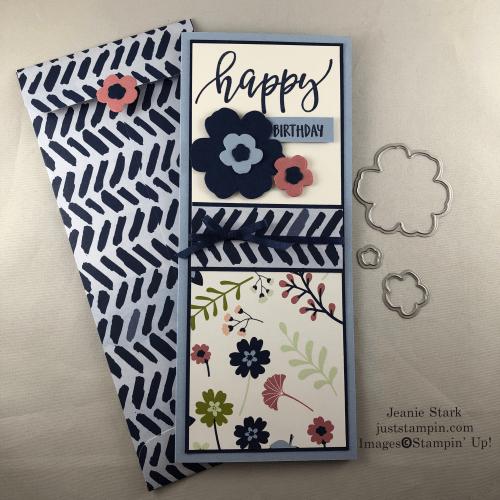 Stampin' Up! Pretty Perennials slimline birthday card idea featuring Paper Blooms custom envelope - Jeanie Stark StampinUp