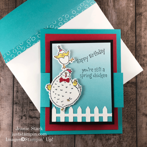 Stampin' Up! Hey Birthday Chick fun fold birthday card idea - Jeanie Stark StampinUp