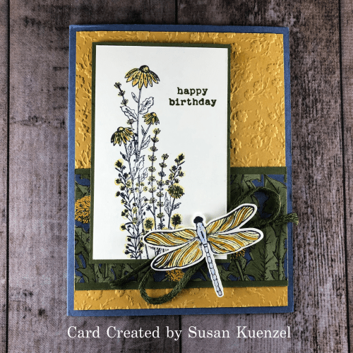 Stampin' Up! Dragonfly Garden birthday card idea with Ornate Floral embossing folder - Jeanie Stark StampinUp