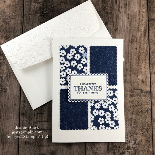 Stampin' Up! Punch Party and Paper Blooms thank you card idea using the Rectangle Postage Punch- Jeanie Stark StampinUp