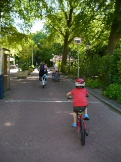 Cycling through the entrance at Duinrell