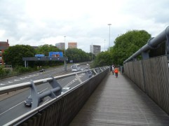 Riding on the Horseshoe Bridge over the Mancunian Way