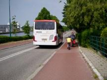 Bus passing us on Straatweg