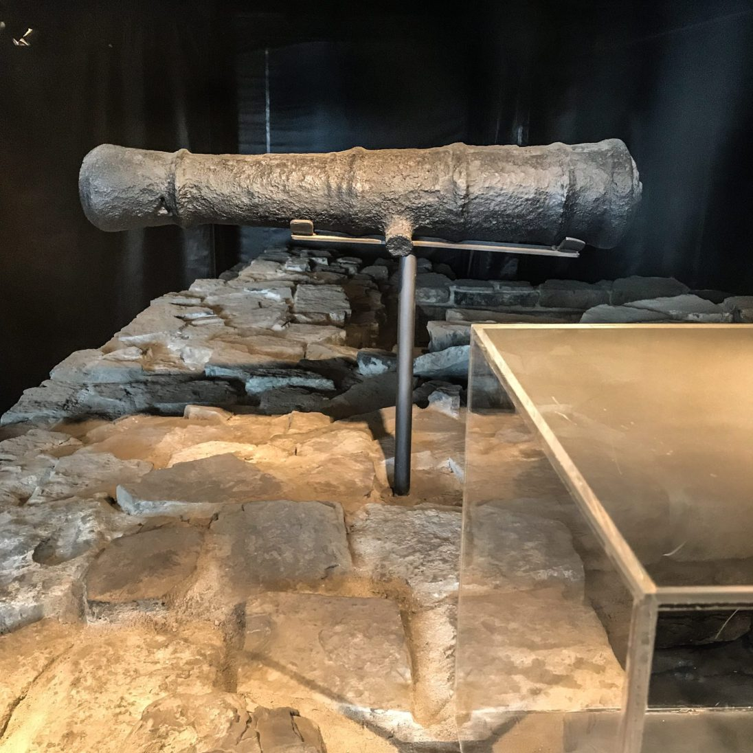 Cannon that was discovered during the excavation is now a centre piece that can even be seen in the parking lot and Artefact Bar.